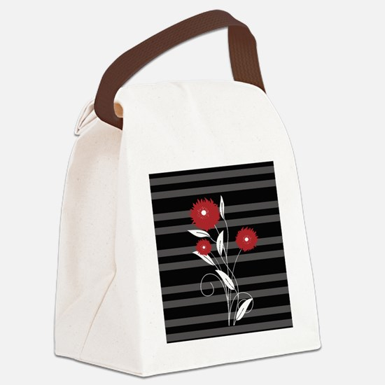 Modern red Black and gray floral Canvas Lunch Bag