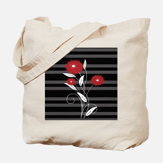 Modern red Black and gray floral Tote Bag