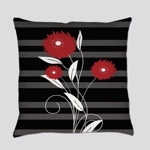 Modern red Black and gray floral Everyday Pillow