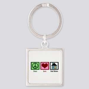 Peace Love Real Estate Square Keychain