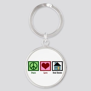Peace Love Real Estate Round Keychain