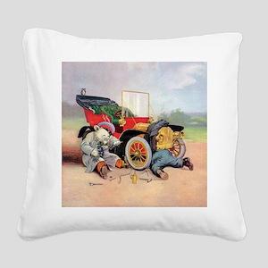 Roosevelt Bear Mechanic Square Canvas Pillow