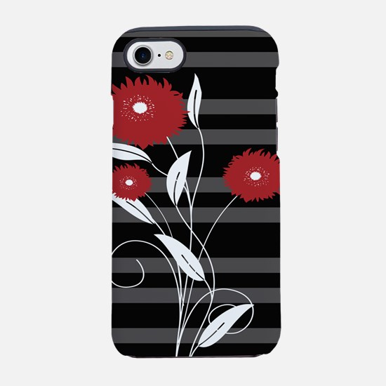 Modern red Black and gray flor iPhone 7 Tough Case