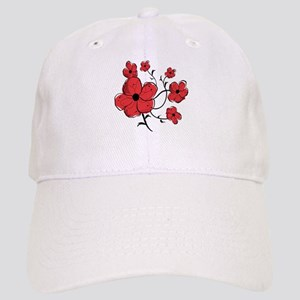 Modern Red and Black Floral Design Cap