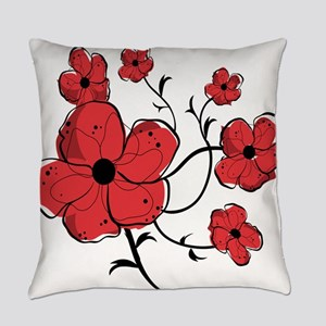 Modern Red and Black Floral Design Everyday Pillow
