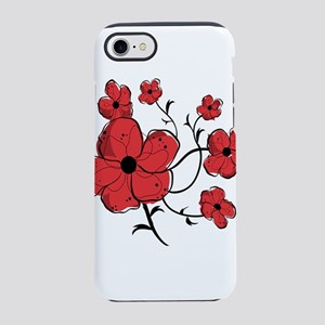 Modern Red and Black Floral De iPhone 7 Tough Case