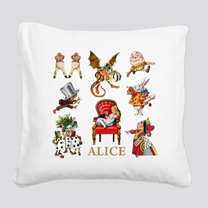 Alice_In Wonderland_GOLD Square Canvas Pillow