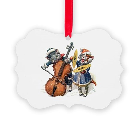 Cats Play Music in the Snow Picture Ornament