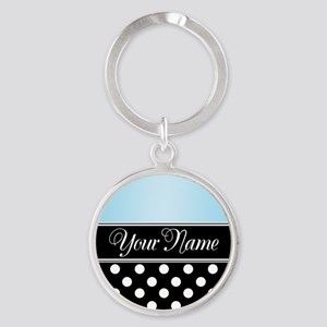 Black Polka Dot Blue Round Keychain