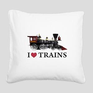 I LOVE TRAINS copy Square Canvas Pillow
