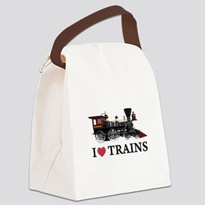 I LOVE TRAINS copy Canvas Lunch Bag