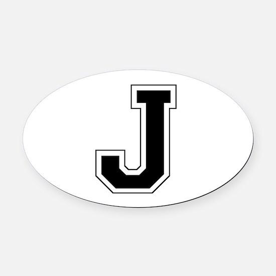 Collegiate Monogram J Oval Car Magnet