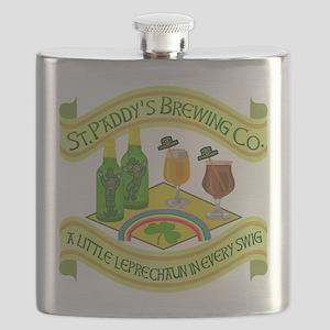 Funny Saint Patricks Day Leprechaun Brewery Flask