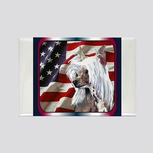 Chinese Crested US Flag Rectangle Magnet
