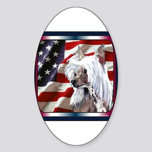 Chinese Crested US Flag Oval Sticker