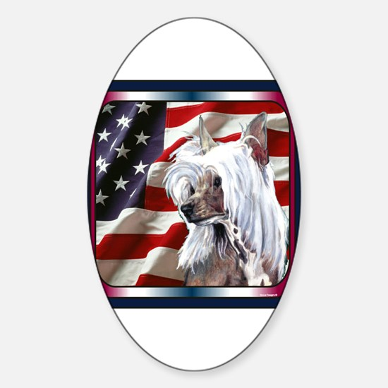 Chinese Crested US Flag Oval Decal