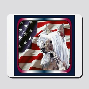 Chinese Crested US Flag Mousepad