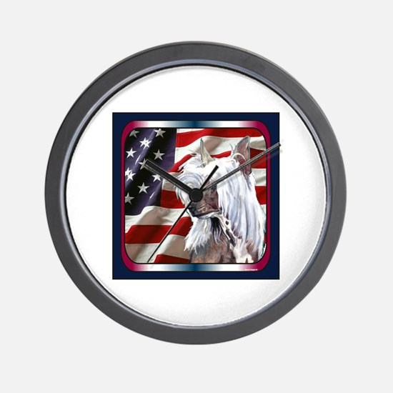 Chinese Crested US Flag Wall Clock