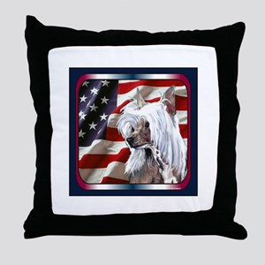 Chinese Crested US Flag Throw Pillow