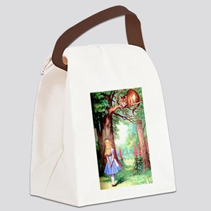 Alice and the Cheshire Cat Canvas Lunch Bag