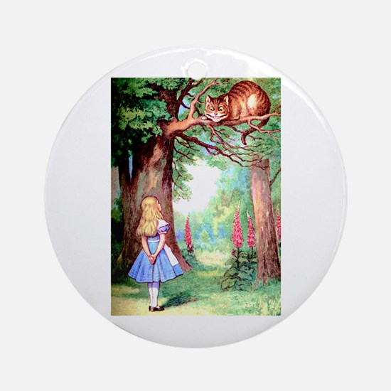Alice and the Cheshire Cat Ornament (Round)