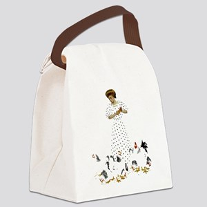 CLOCK FARMERS DAUGHTER_PINK Canvas Lunch Bag