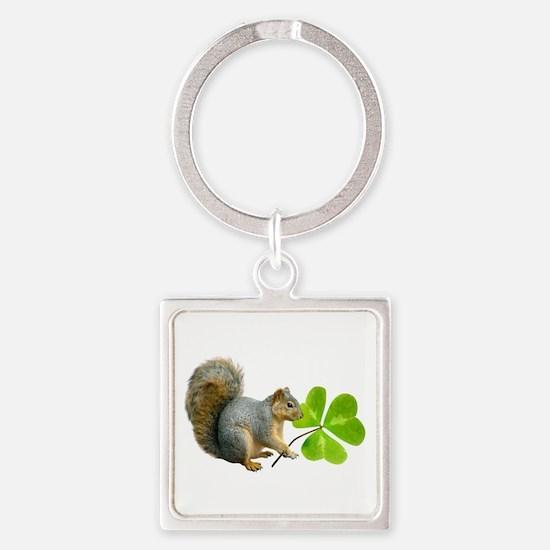 Shamrock Squirrel Square Keychain