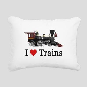 I LOVE TRAINS Rectangular Canvas Pillow