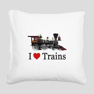 I LOVE TRAINS Square Canvas Pillow