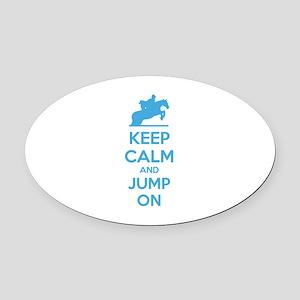 Keep calm and jump on Oval Car Magnet