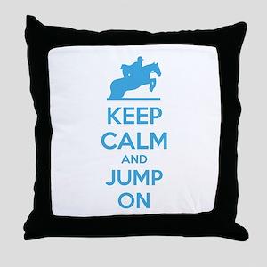 Keep calm and jump on Throw Pillow