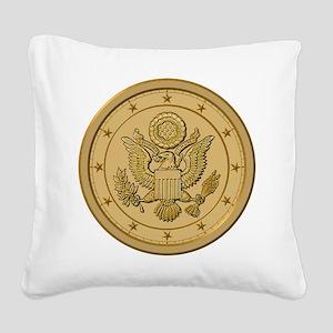 AMERICAN EAGLE_ SOLID_GOLD Square Canvas Pillo