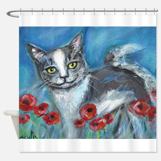 gray and white smiling cat Shower Curtain