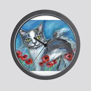 gray and white smiling cat Wall Clock
