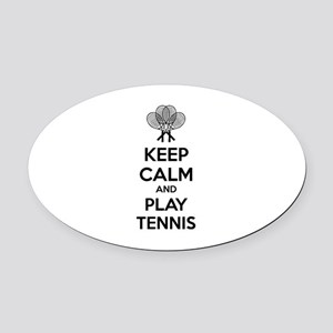 Keep calm and play tennis Oval Car Magnet