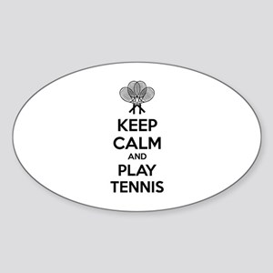 Keep calm and play tennis Sticker (Oval)