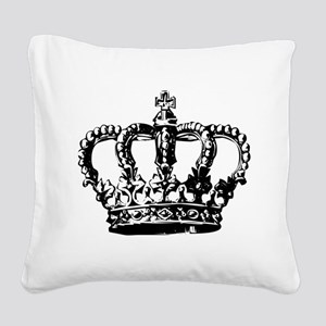 Black Crown Square Canvas Pillow