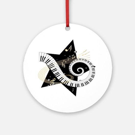 Musical star Round Ornament