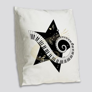 Musical star Burlap Throw Pillow