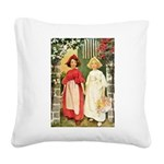 Snow White and Rose Red Square Canvas Pillow