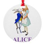 ALICE AND RABBIT 2 PURPLE copy Round Ornament
