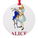ALICE AND RABBIT 2 RED copy Round Ornament