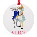 ALICE AND RABBIT 2 PINK copy Round Ornament