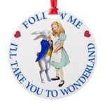 ALICE AND RABBIT BLUE copy Round Ornament