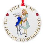 ALICE AND RABBIT GOLD copy Round Ornament