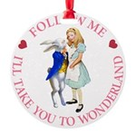 ALICE AND RABBIT PINK copy Round Ornament