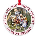 ALICE AND THE WHITE KNIGHT_RED copy Round Orna