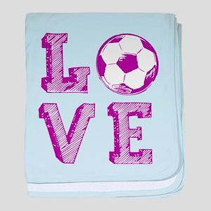 Girly Love Soccer baby blanket