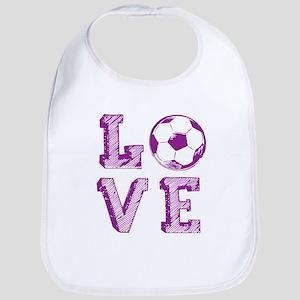 Girly Love Soccer Baby Bib