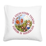 Alice Encounters Talking Flow Square Canvas Pillow